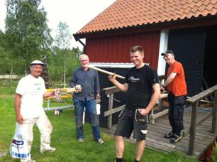 Glada dagsverkare på Norra Fjället, från vänster Mats, Göran, Jens och Clyde